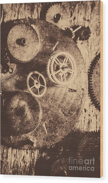 Industrial Gears Wood Print