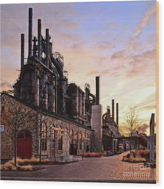 Industrial Landmark Wood Print