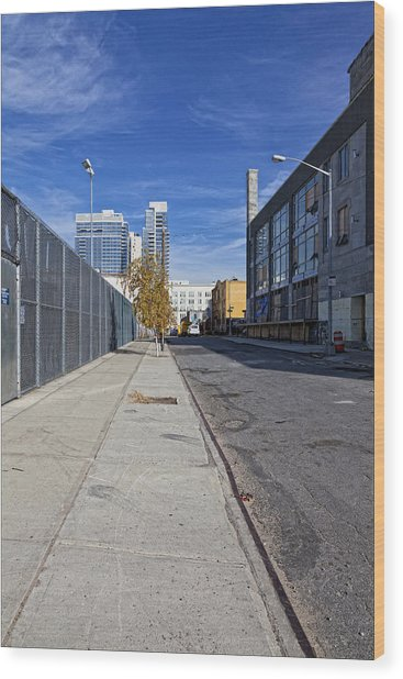 Industrial Street Wood Print by Robert Ullmann