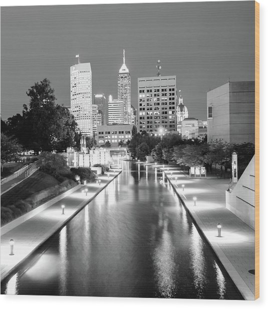 Indy City Skyline - Indianapolis Indiana Black-white 1x1 Wood Print