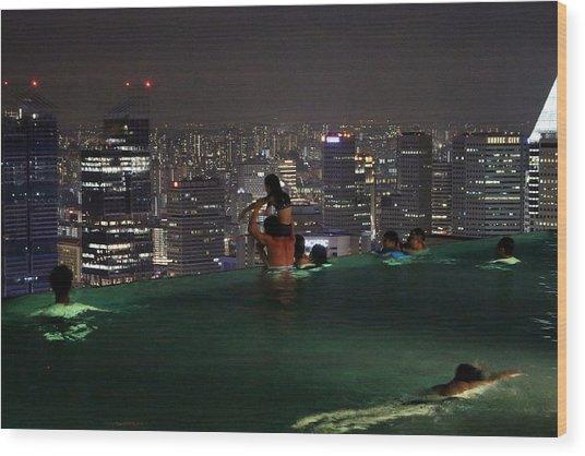 Infinity Pool At Marina Bay Sands Hotel Wood Print