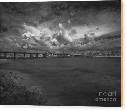Infrared Longboat Pass Bridge Wood Print