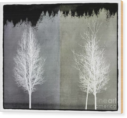 Infrared Trees With Texture Wood Print