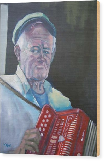 Inis Mor Accordian Player Wood Print by Kevin McKrell