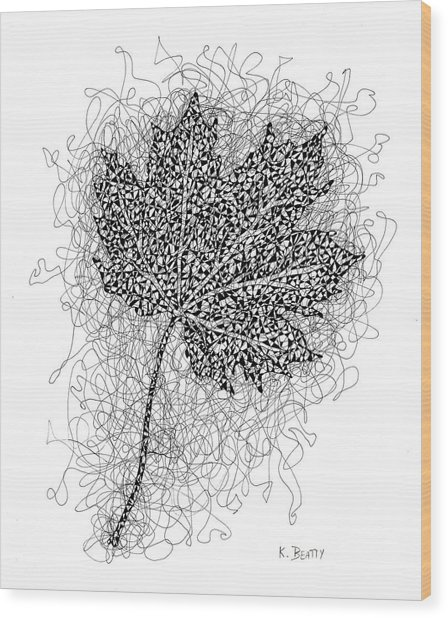 Ink Drawing Of Maple Leaf Wood Print