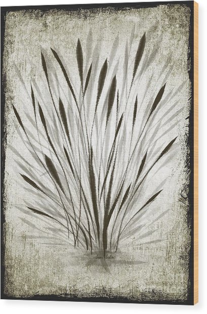 Ink Grass Wood Print