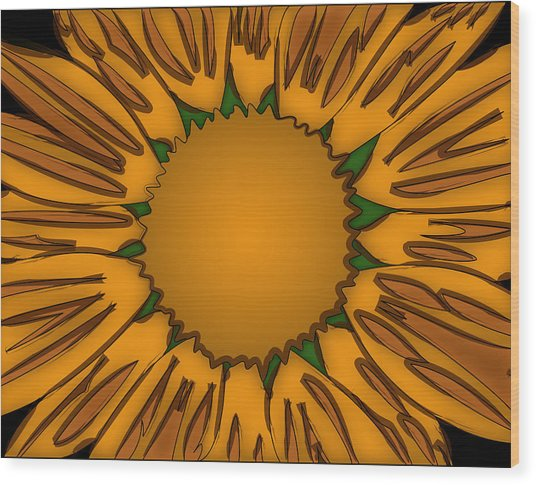 Ink Sunflower Wood Print by Christopher Sprinkle