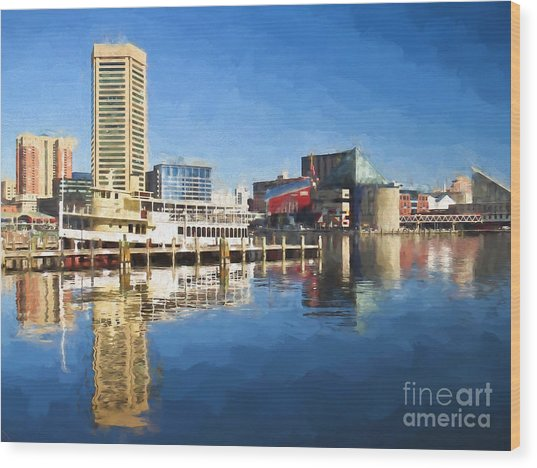 Inner Harbor Reflections  Wood Print