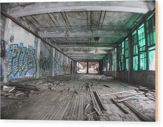 Inside Detroit Packard Plant  Wood Print