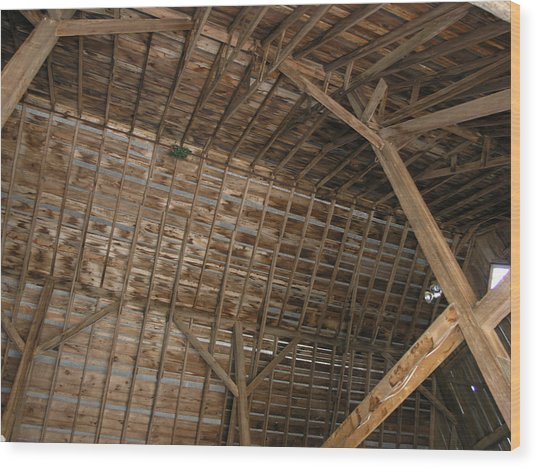 Inside Of The Barn Wood Print by Janis Beauchamp