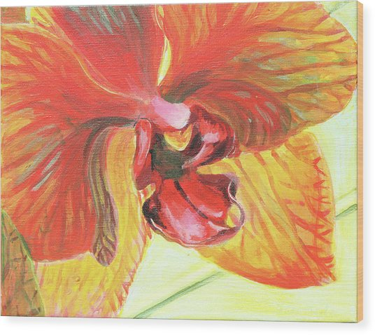 Inside Orchid Wood Print