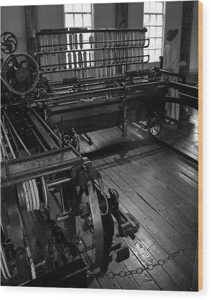 Inside Slater Mill Wood Print