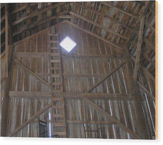Inside The Barn Wood Print by Janis Beauchamp