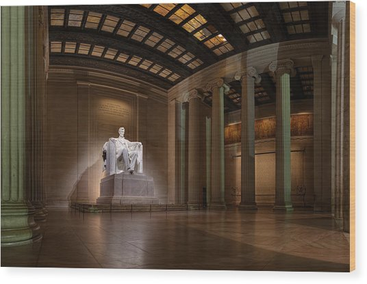 Inside The Lincoln Memorial - Custom Size Wood Print