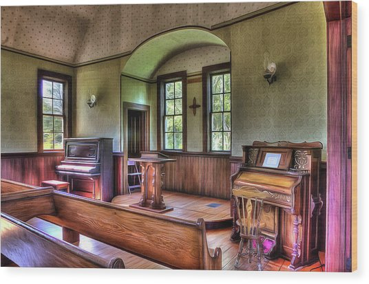 Inside The Oysterville Church  Wood Print