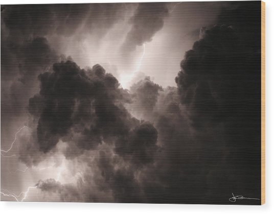 Inside The Storm Wood Print