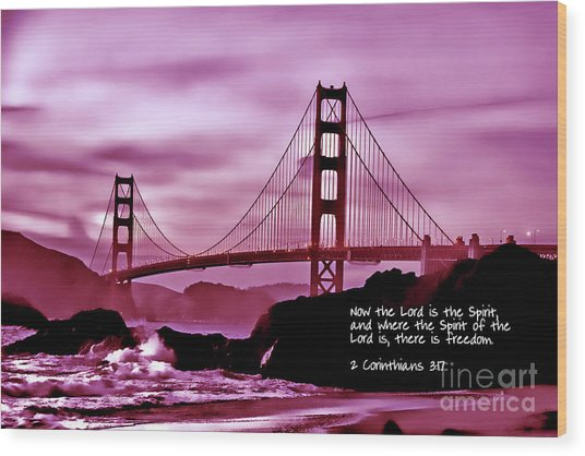 Inspirational - Nightfall At The Golden Gate Wood Print