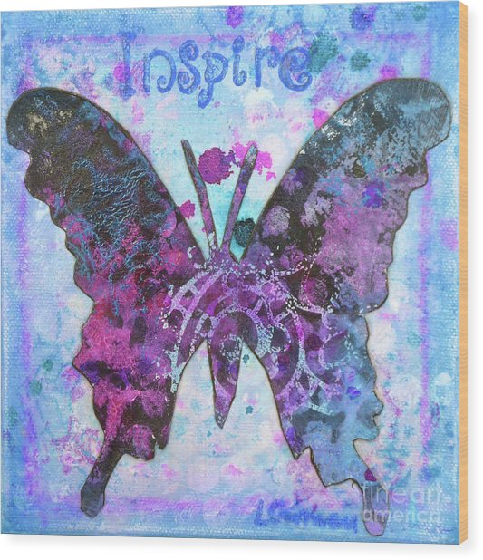 Inspire Butterfly Wood Print