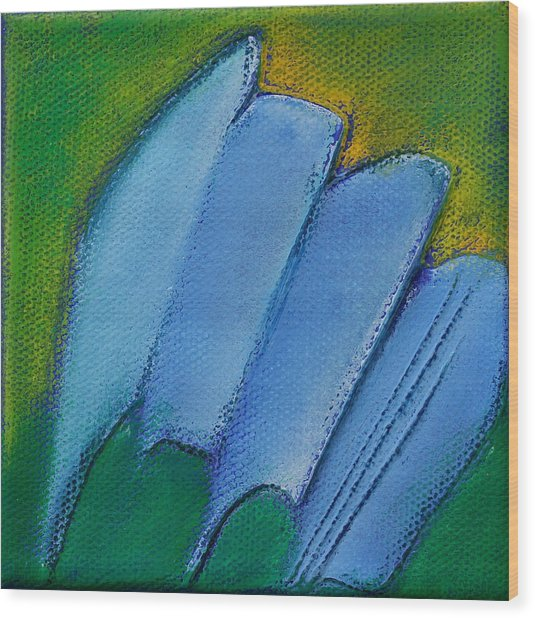 Inspired Blue 25 Wood Print by Jacqueline Steudler