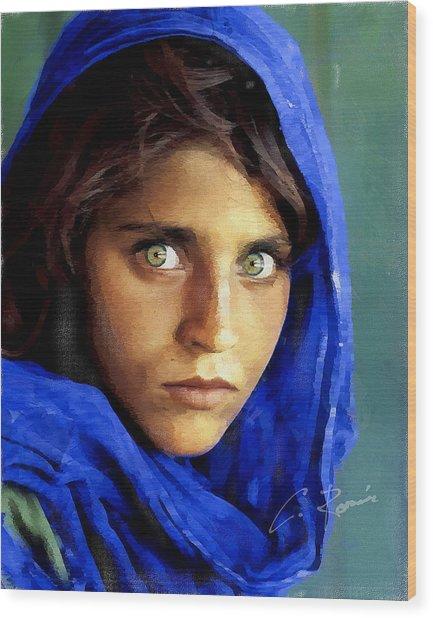 Inspired By Steve Mccurry's Afghan Girl Wood Print