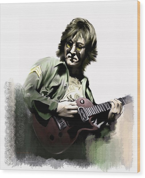 Instant Karma  John Lennon Wood Print by Iconic Images Art Gallery David Pucciarelli