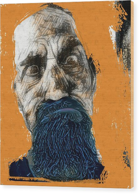 Intense Portrait Bulging Eyes Blue Beard Orange And Sketch Painting Vibrant Vivid Expression Beast Friendly Wood Print by MendyZ