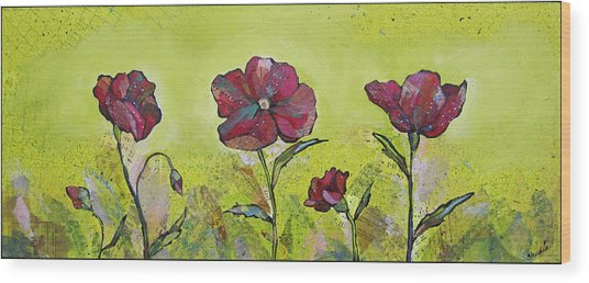 Intensity Of The Poppy II Wood Print