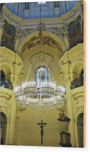 Interior Evening View Of St. Nicholas Church In Prague Wood Print