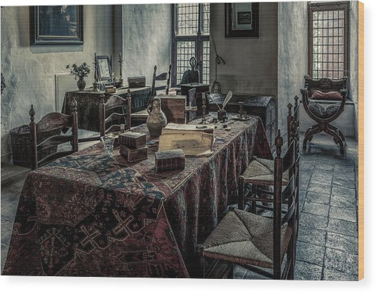 Interior Of A Room In A Medieval Castle Wood Print