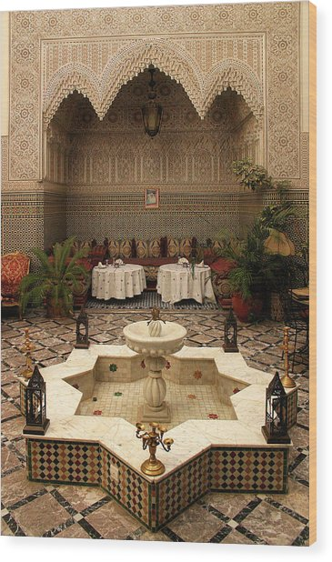 Interior Of A Traditional Riad In Fez Wood Print
