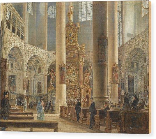 Interior Of The Franciscan Church Salzburg Wood Print