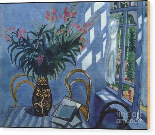 Interior With Flowers Wood Print