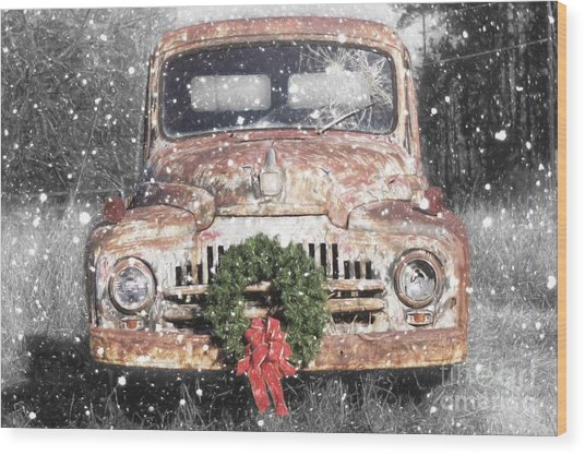 International Christmas Snow Wood Print