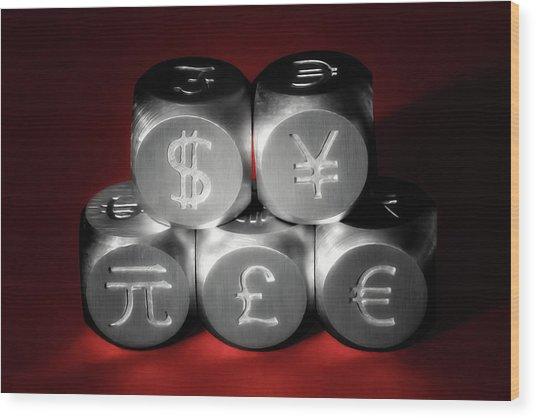 International Currency Symbols II Wood Print