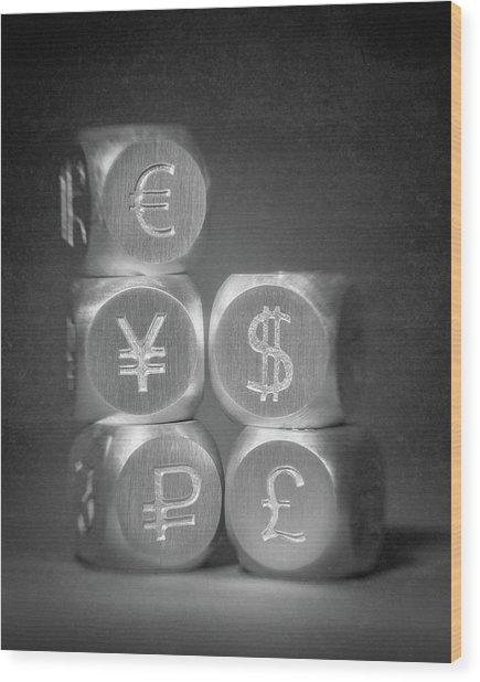International Currency Symbols Wood Print