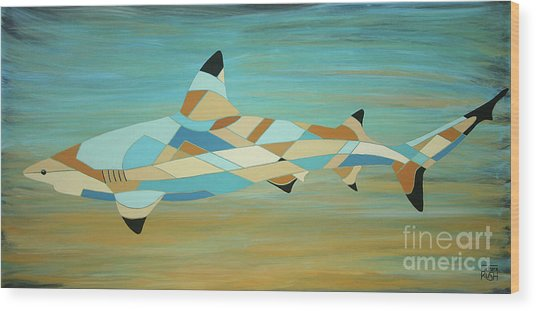 Into The Blue I Shark Painting Wood Print