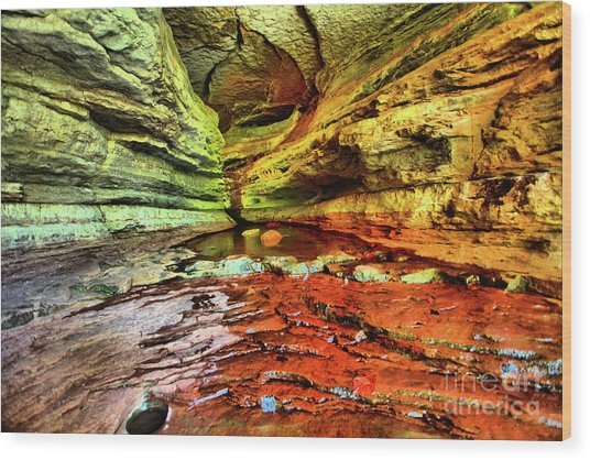 Into The Cave Wood Print by Kevin Kuchler