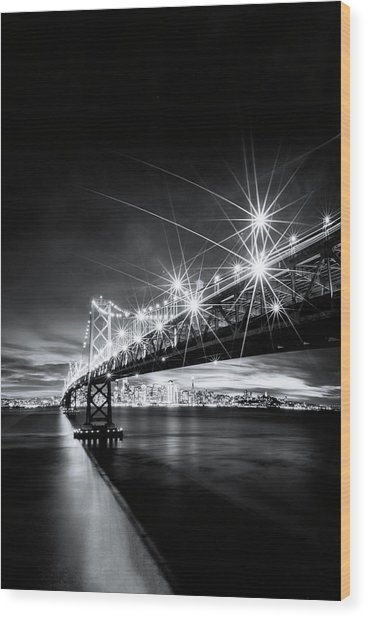 Into The City, Black And White Wood Print by Vincent James