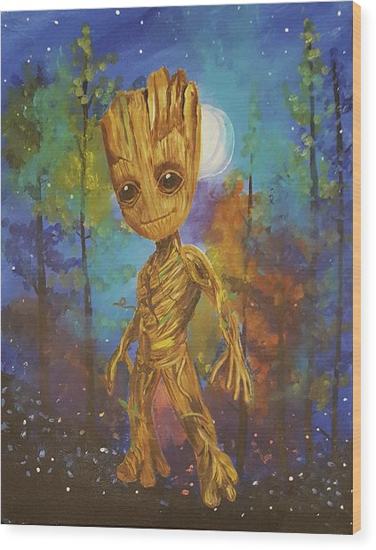 Into The Eyes Of Baby Groot Wood Print