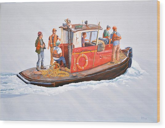 Into The Mist-the Crew Boat Wood Print