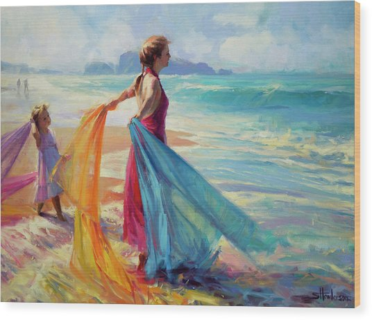 Wood Print featuring the painting Into The Surf by Steve Henderson