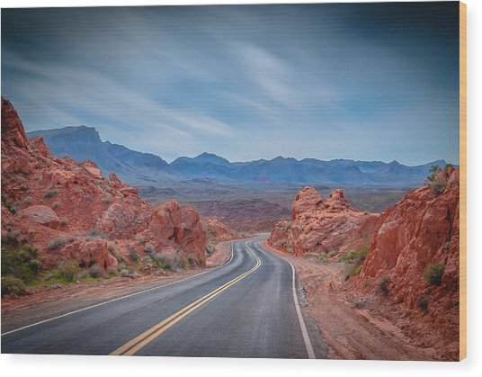 Into The Valley Of Fire Wood Print