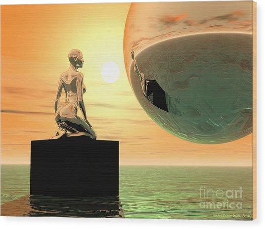 Introspection Wood Print by Sandra Bauser Digital Art