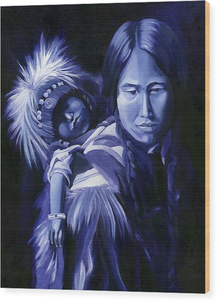 Inuit Mother And Child Wood Print