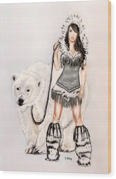 Inuit Pin-up Girl Wood Print