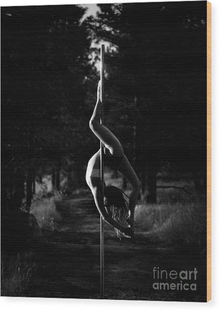 Inverted Pole Dance In Forest Wood Print