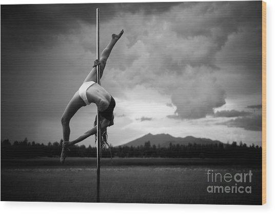 Inverted Splits Pole Dance Wood Print