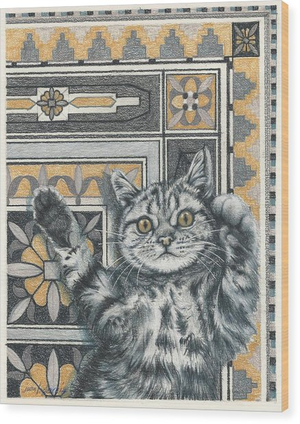 Invisible Cat Wood Print
