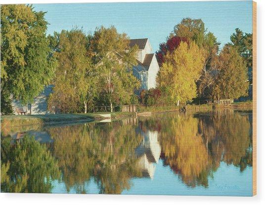 Iola Mill Fall View Wood Print