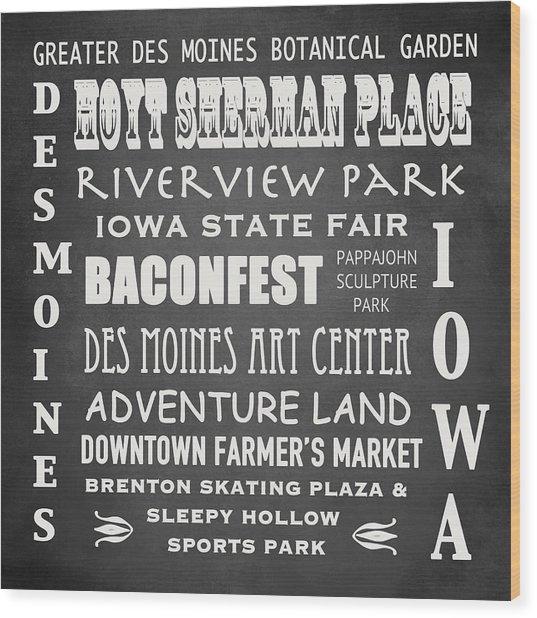 Iowa Famous Landmarks Wood Print
